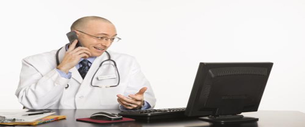 Medical professional on computer